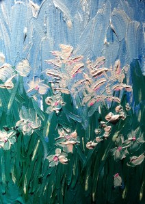 """""""Summer Flowers"""" 16"""" x 20"""" acrylic on canvas with glow. 2013"""