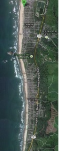 As seen on a map, 'my beach' on this day.