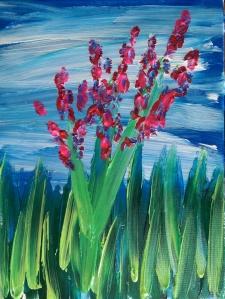 """""""Wildflowers"""" 12"""" x 16"""" acrylic on canvas w/glow 2014"""