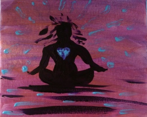 """""""The Stillness Within"""" 8"""" x 10"""" acrylic on canvas with glow."""