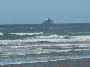 Like a lighthouse on a rocky shore.