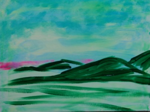 """Some Distant Sunrise"" 16"" x 20"" acrylic on canvas w/glow 2014"