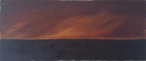 """Oil Fires"" oil on stretched silk, 24"" x 65"" 1992"