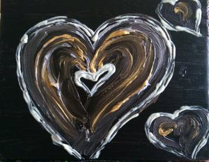 """...with what matters most. """"You Always Have My Heart"""" 8"""" x 10"""" acrylic on canvas with glow."""