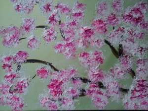 """Cherry Blossoms"" 14"" x 20"" acrylic on canvas. 2011"