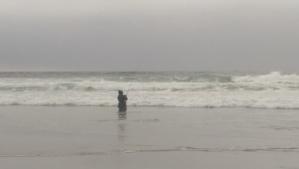 A fisherman, actually fishing.