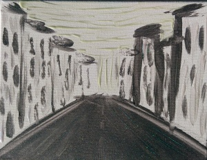 """The Nightmare City"" 8"" x 10"" acrylic on canvas w/glow"
