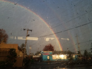 This is not actually a picture of a rainbow filling a building with gold, however much it may appear so.